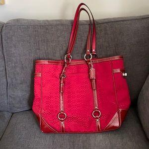 Authentic Coach red mini c's tote w/ silver
